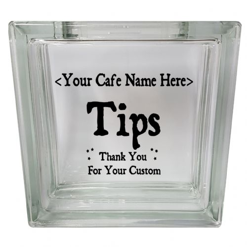 Personalised Cafe Tips Box Clear View Decoration Glass Block Money Box